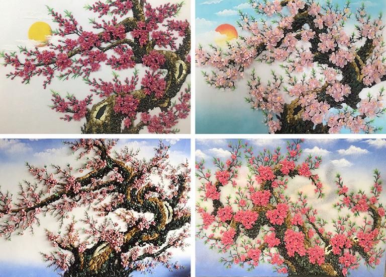 tổng hợp tranh đá quý hoa đào đẹp và cao cấp