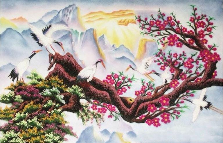 Tranh đá quý phong cảnh đào hạc mùa xuân