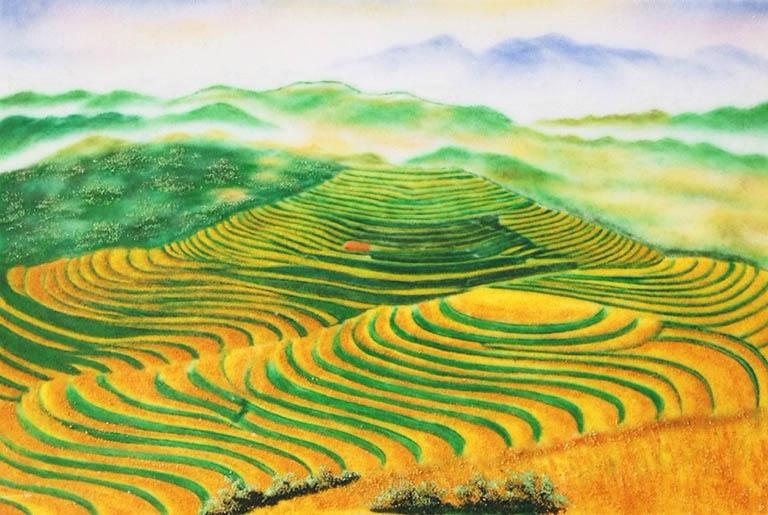 Tranh đá quý phong cảnh Ruộng Bậc Thang